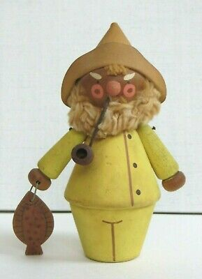 """1950's Swedish Wood Carved Fisherman w/FISH~Stamped Sweden~5"""",GREAT Character~GC"""