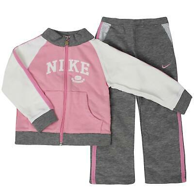 Nike Girls Youths Tracksuit Track Top Pants Joggers Logo Pink Grey 496734 890