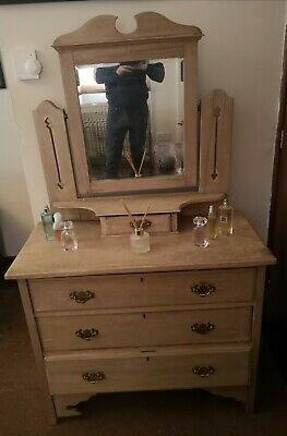 Antique Vintage solid wood Dressing Table With Mirror and drawers