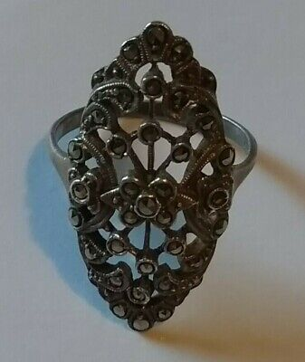 Good Quality Art Deco Silver and  Marcasite  Ring  935 Silver