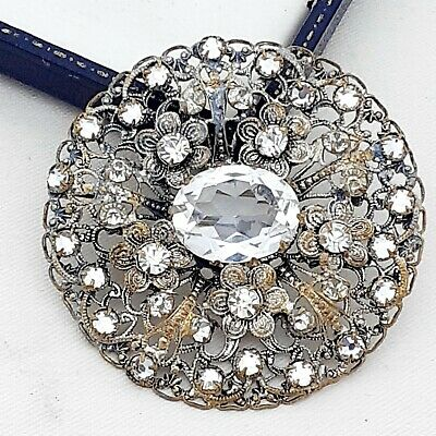 A Lovely Art Deco 1930s White Diamante Round CZECH filigree brooch pin