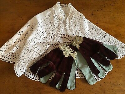 Lot Antique Broderie Tippet Capelet Plus Child's Antique Collar