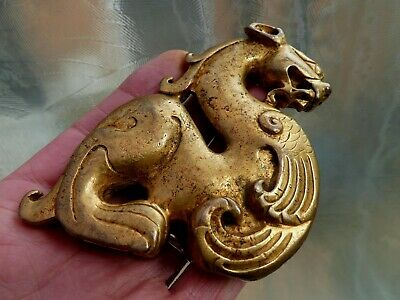 SUPERB ANTIQUE CHINESE GILT BRONZE MYTHICAL ANIMAL SCROLL WEIGHT 17th-18th CENT