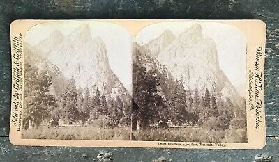 Albumen silver stereograph Yosemite Valley Three Brothers William H Rau Griffith