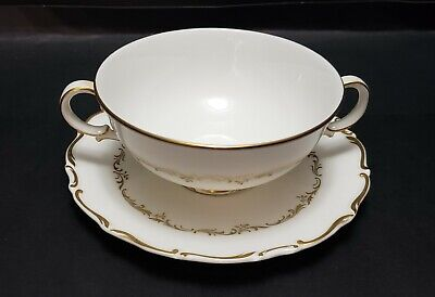 """Royal Doulton Handled Cream Soup Bowl And Under Plate """"Richelieu"""""""