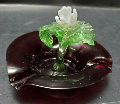 Antique Murano Ruby Red Glass Ashtray With Glass Flower And Leaf