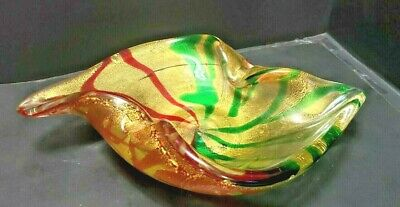 Spectacular Vintage Murano Two Color Striped 24Kt Gold Filled Circa 1950S