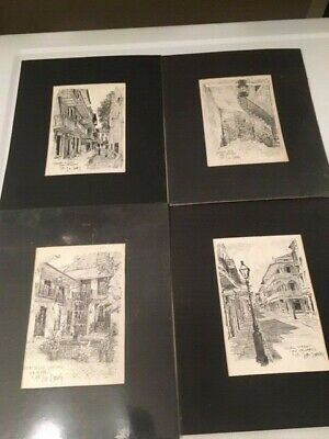 Lot of 4 Vintage 5 x 7 Don Davey 1976 New Orleans Artist Prints Black and White