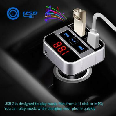 Wireless Bluetooth Handsfree Car AUX FM Transmitter MP3 Player Dual USB Charger