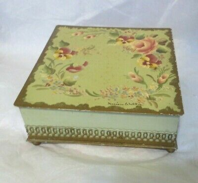 Vintage Brass Hand Painted Tole Document Trinket Cigar Footed Hinged Box signed