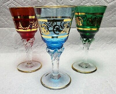 Three Vintage Colored Stem Glasses Goblet Gold Gilt Highlights Czech Bohemia