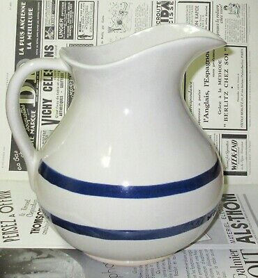 Robinson Ramsbottom Roseville, Ohio Blue and White Pitcher