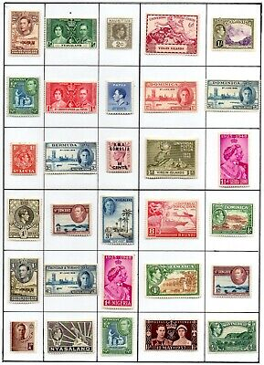 COMMONWEALTH 30 different George VI mint stamps on page.