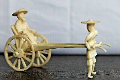 Rare Antique Chinese Hand Carved Rickshaw Cart & Puller Figure - 11cm L x 7cm H
