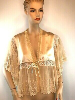 Vintage Christian Dior Nighty Top Robe Lingerie From Neimans Gobs of Lace USA M