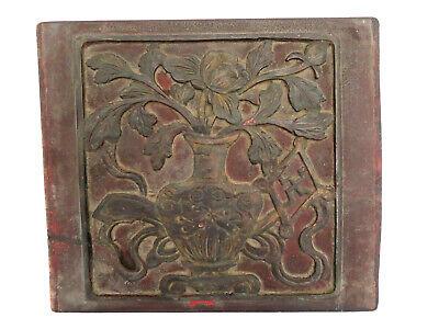 Antique Chinese Hand Carved Zitan Wood Panel Box Lid