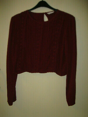 Girls aged 14 years dark red long sleeved blouse top Matalan