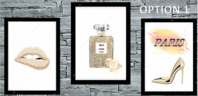 Set of 3 Coco Wall Art beige Gold A4 home Room Bedroom Poster Prints Fashion