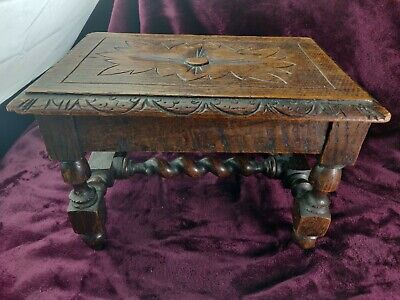 "Victorian 19th C Antique English Solid Oak Turned & Carved "" Flower "" Footstool"
