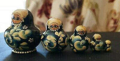 Vintage Nest of Five Miniature Stacking Wooden Matryoshka Genuine Russian Dolls