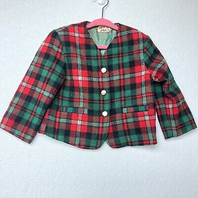 Vintage Boys Size 4/5 Blazer Jack and Jill Wool Flannel Plaid 70s Kids Red Green