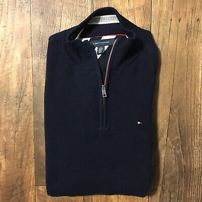 Tommy Hilfiger Dark Grey 1//2 Half Zip Mock Turtleneck Sweater NWT $80