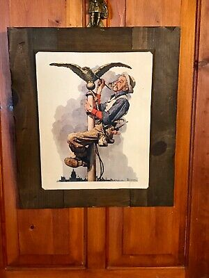 """Large 'Textured' Norman Rockwell Art Print Affixed On Wood, 11"""" by 13 3/4"""" Image"""