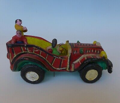 "Vintage Mexican ceramic ""convertible"" car by CANDELARIO MEDRANO 8 1/4"" long"