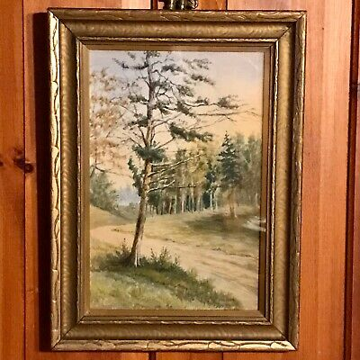 19th Century Framed Watercolor Pastoral Landscape Painting, Signed A.G.Gregory