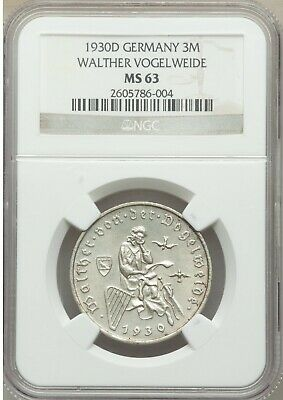 1930 D Germany Silver 3 marks-Vogelweide NGC MS63