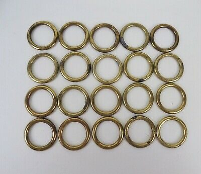 """Vintage Brass Cafe Curtain Rings Lot of 20 Sew On For 3/4"""" Rod"""