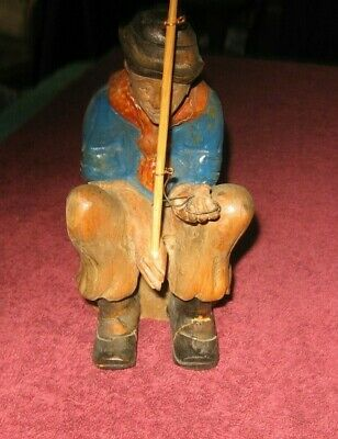 Vintage Carved Wood Contented Fisherman Sitting on Rock~Fishing Pole~Boots~Hat