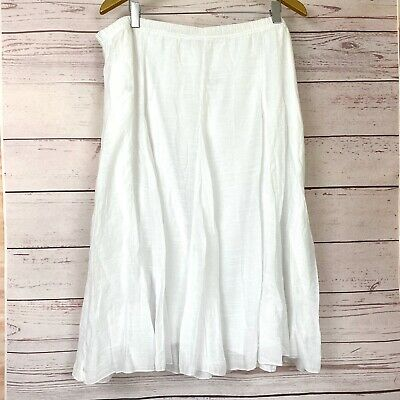 NWT Roz & Ali Dress Barn Skirt 1X White Gauze Layered Long elastic pull on waist