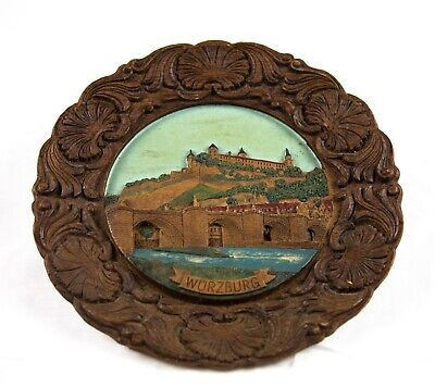 Vtg Handgemalt Wooden Carved Wall Plaque Plate Wurzburg Germany Painted