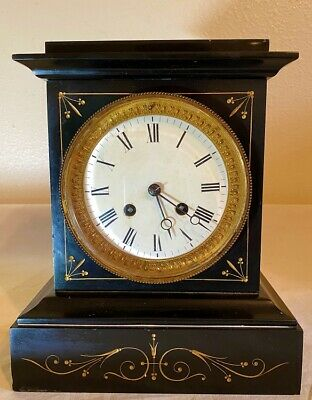 French Japy Freres & Cie Black Slate Mantle Clock ca 1900