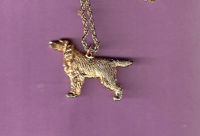 "Gordon Setter Gold Plated Necklace Pendant Jewelry 20"" chain"