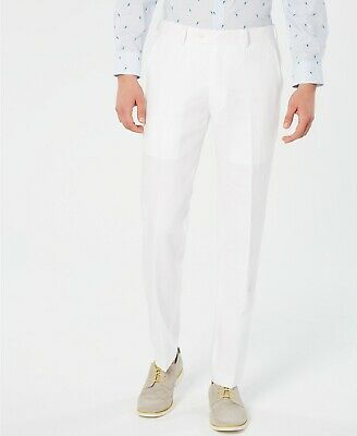 Bar III Men's Slim-Fit White Suit Pants