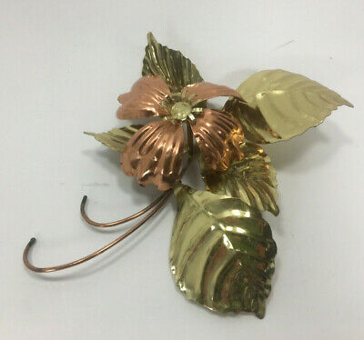 "Vintage Brass & Copper Metal Dogwood Flower Leaves Wall Hanging Decor~Sm~5.5""x6"""