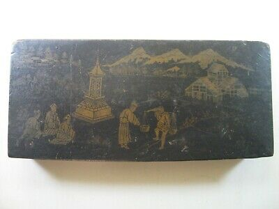 ANTIQUE WOODEN CHINESE BOX w/village/mountains scene