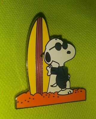 Charlie Brown Snoopy Surfing Collectible Willabee & Ward Pin Authentic Rare