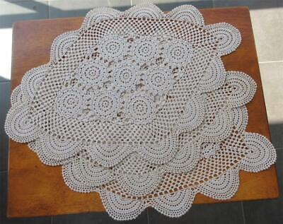 Set of Three Large Vintage CROCHET DOILIES in Taupe 'Never Used'