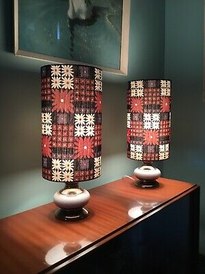 Pair Vintage Retro Australian Pottery Bedside /Table Lamps Bespoke Shades