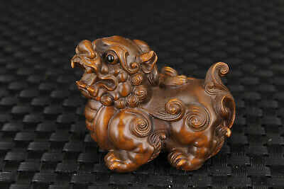 Rare Chinese old boxwood hand carved kirin statue unique decoration collectable