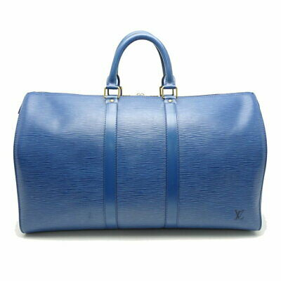 Authentic LOUIS VUITTON Epi Keepall 45 Boston Bag M42975 Toledo Blue /056493