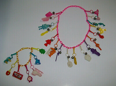 vintage Plastic Bell Charm Necklace & Charms, 1980s retro