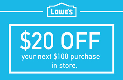 THREE 3x Lowes $20 OFF $100Coupons-INSTORE ONLY -Fast-Delivery