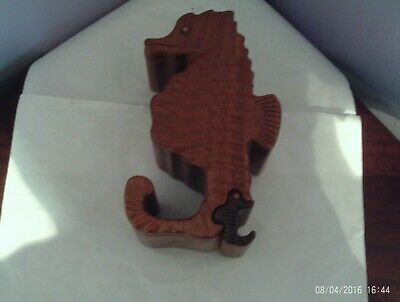 Fabulous Carved Wooden Seahorse Figure Design Wooden Puzzle Box 18 Cms Long
