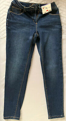 8 9 Years Girls Skinny Jeans Navy Blue George Asda Adjustable Waist Labelled