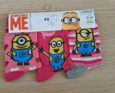 Official 3PK Minions Design Socks for Girls Despicable Me Childrens Kids