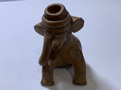 """Antique pre Columbian pottery figural whistle 2.25"""" seated creature"""